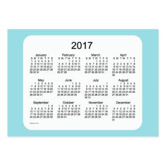Calendario de 2017 azules claros por la tarjeta de tarjetas de visita grandes
