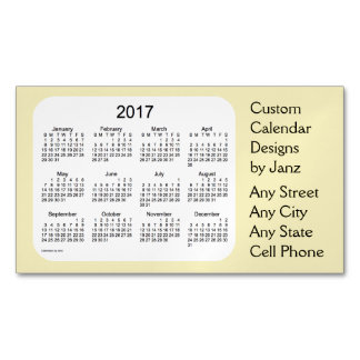 Calendario de color caqui del negocio 2017 por el tarjetas de visita magnéticas (paquete de 25)