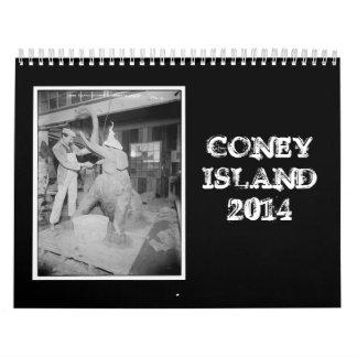 Calendario de Coney Island 2014 del vintage