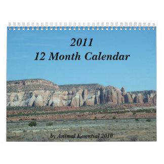 Calendario de doce meses escénico