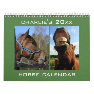 Calendario de encargo del caballo del nombre y del