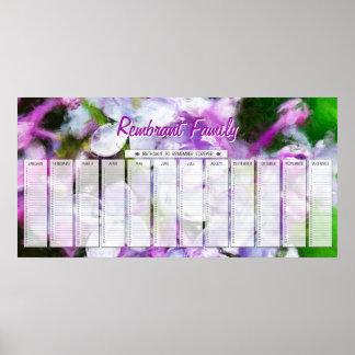 Calendario de encargo del cumpleaños de la familia póster