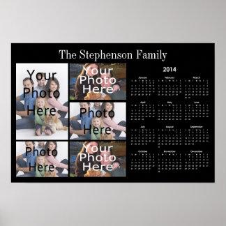 Calendario de encargo horizontal del collage de la póster