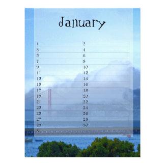 Calendario de enero flyer a todo color