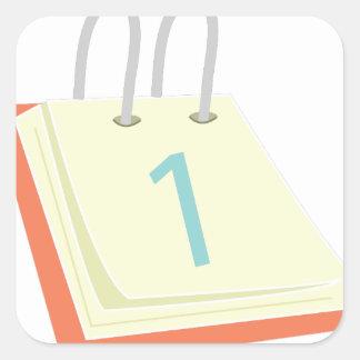 Calendario de escritorio pegatina cuadrada