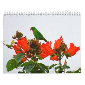 Calendario de flores coloridas en las Filipinas