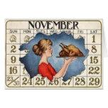 Calendario de la acción de gracias tarjetón
