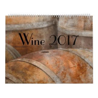 Calendario de la acuarela del arte de 2017 vinos