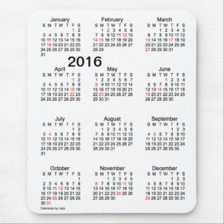 Calendario de la ampliación de foto 2016 con los tapete de ratón