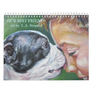 Calendario de la bella arte del arte del perro de