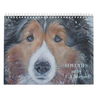 Calendario de la bella arte del perro pastor de