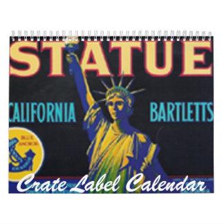 Calendario de la etiqueta del cajón