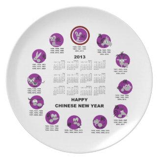 Calendario de la Feliz Año Nuevo del zodiaco de 20 Plato De Comida