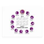 Calendario de la Feliz Año Nuevo del zodiaco de Tarjeta Postal