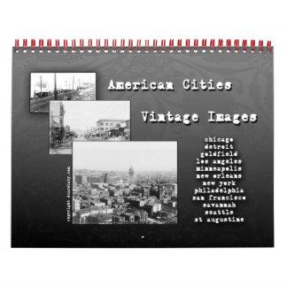 Calendario de la foto del vintage de ciudades amer