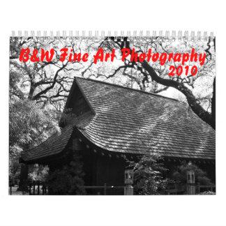 Calendario de la fotografía de la bella arte de B&
