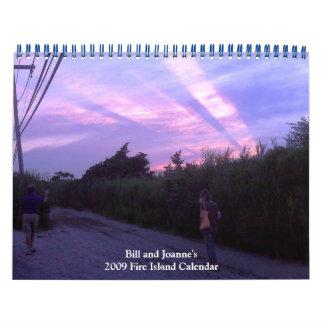 Calendario de la isla del fuego de Bill y de Juana