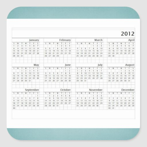 Calendario de la obra clásica 2012 pegatina cuadrada