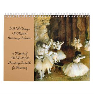 Calendario de la pintura al óleo de los viejos