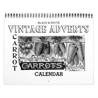Calendario de la publicidad del vintage en blanco