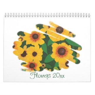 Calendario de las ilustraciones de la flor por
