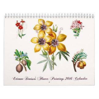 Calendario de las pinturas 2016 de la flor de