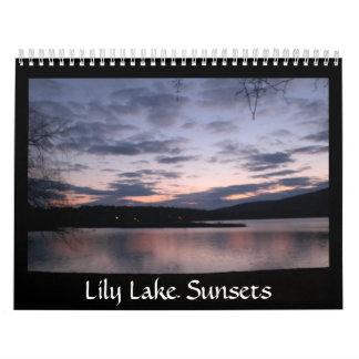 Calendario de las puestas del sol del lago lily