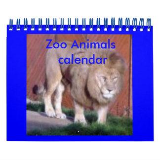 Calendario de los animales del parque zoológico