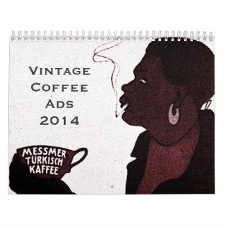Calendario de los anuncios del café del vintage