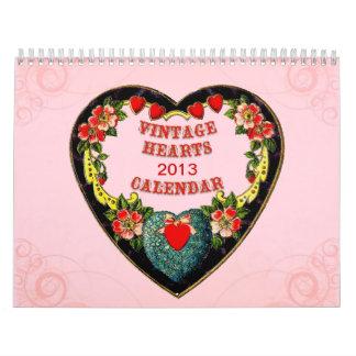 Calendario de los corazones del vintage