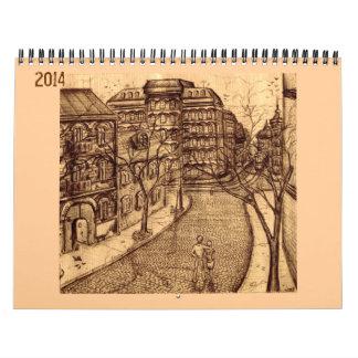 Calendario de los dibujos 2014 de la tinta
