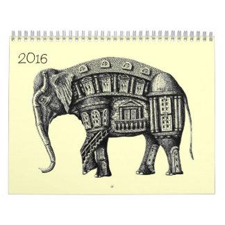 Calendario de los dibujos 2016 de la pluma de la