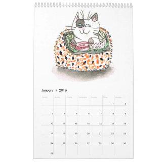 Calendario de los gatos 2016 del sushi