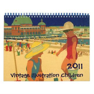 Calendario de los niños del ejemplo del vintage