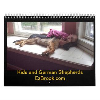 Calendario de los pastores alemanes y de los niños