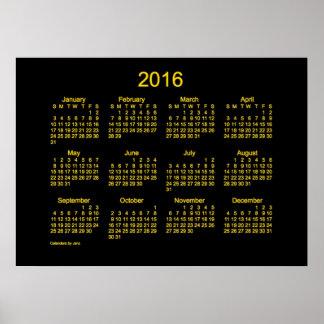 Calendario de neón del oro 2016 por el poster de
