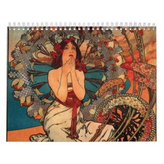 Calendario de Nouveau del arte