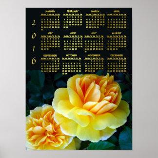 Calendario de oro de los rosas amarillos 2016 póster