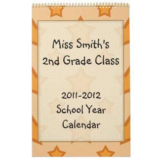 Calendario de oro del año escolar de las estrellas