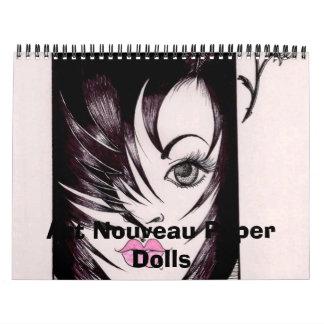 Calendario de papel de las muñecas de Nouveau del