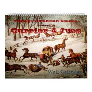 Calendario de pared americano de las escenas del v