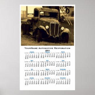 Calendario de pared auto del camión de antaño del  poster