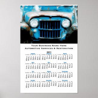 Calendario de pared auto del vintage de la parrill póster