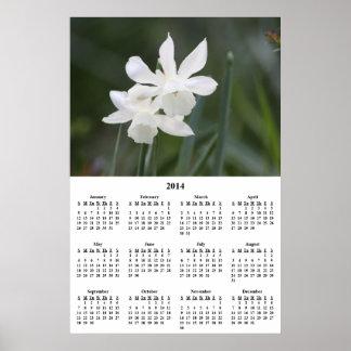 Calendario de pared blanco de 2014 narcisos impresiones