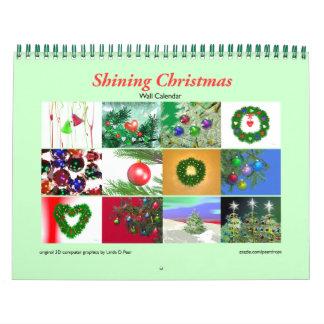 Calendario de pared brillante del navidad