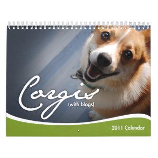 Calendario de pared de 2011 Corgis con los blogs