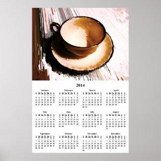 Calendario de pared de la taza 2014 y del platillo posters