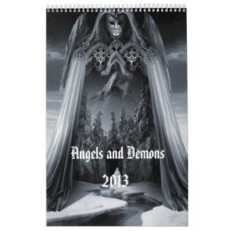 Calendario de pared de los ángeles y de los demon