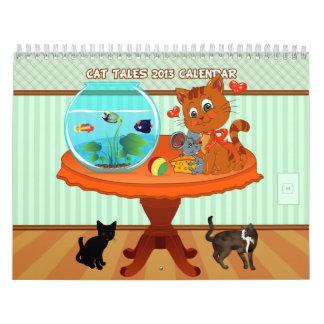 Calendario de pared de los cuentos 2013 del gato