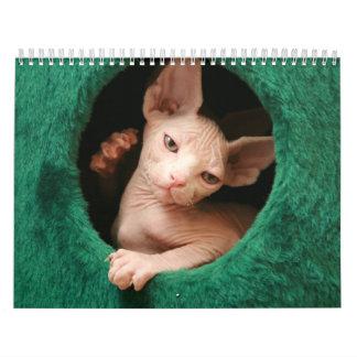 Calendario de pared de los gatos de Sphynx el |